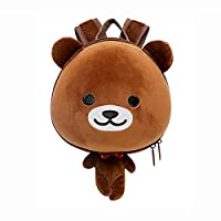 Supercute Animal Bear Toddler Backpack with Detachable Safety Straps Brown Backpack
