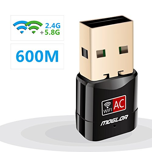 WiFi Adapter Wlan Stick USB Moglor 600 Mbit/s Mini Wireless DualBand (5.8G/433Mbps+2.4G/150Mbps) Wlan Dongle für Windows XP/7/8/10/Vista/Server, MAC OS