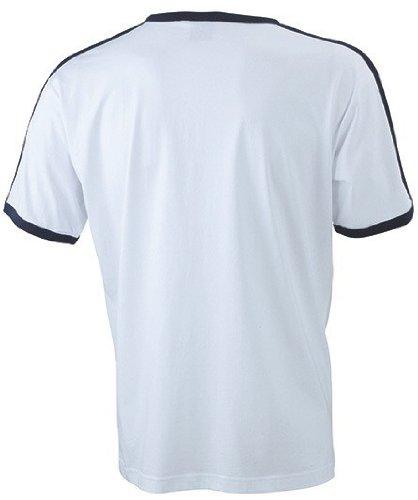 James + Nicholson kontrastfarbenes Flag T-Shirt JN 017 Multicoloured - White/Navy