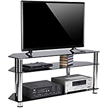 Rfiver 120 cm Glass TV Stand for 32-60 Inch Plasma/LCD/LED/3D Television - Black