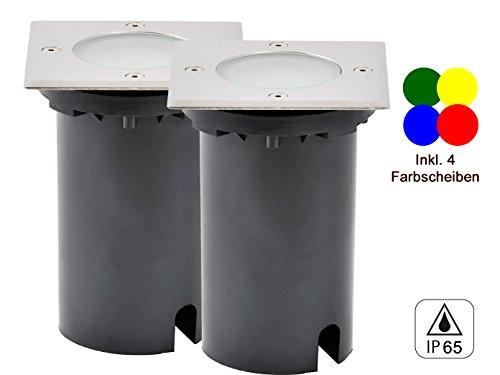 2er-Set LED Bodeneinbaustrahler eckig, L/B ca. 11 cm, 36Lm, IP65, 4 Farbscheiben inkl.; KONSTSMIDE 7607-000