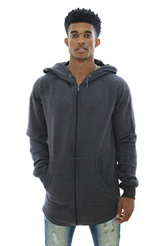 Akademiks Men's Courtland Black Out Zip Up Fleece Hoodie Sweatshirt-Charcoal-M (Akademiks Hoodie)