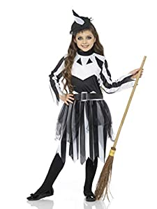 Karnival Costumes- Halloween Stripy Witch Disfraz, Color blanco y negro, extra-large (84583)