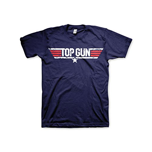 Officially Licensed Merchandise Top Gun Distressed Logo T-Shirt (Navy), Small -