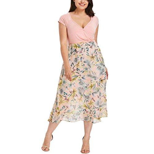 MRULIC Frauen Midi Kleider V-Ausschnitt Wrap Chiffon Floral Langarm Plus Size Abendkleid (EU-42/CN-XL, E-Rosa)