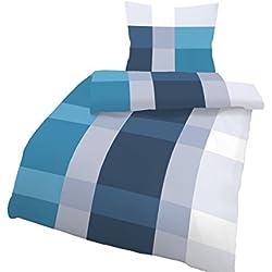 Träumschön Bettwäsche 155x 220 Biber Reißverschluss Blau | Bettwäsche-Set Blau Karo Design | Biber Bettwäsche 155x220 2tlg | Kuschelige Bettwäsche