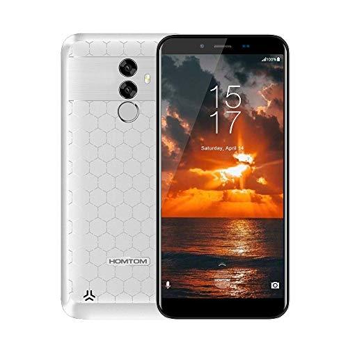 """HOMTOM S99 Smartphone, 5.5"""" 4G Téléphones Portables Débloqués, Android 8.0 Octa Core 4Go+64Go, 6200mAh, Appareil Photo 21MP+13MP, Dual SIM, Face-ID, White"""