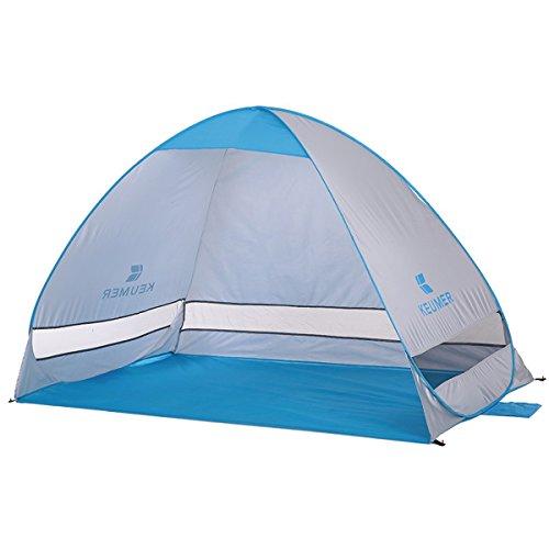 Extra Leicht Strandmuschel mit Boden Sonnenschutz UV-Schutz, Familie Tragbares Strand-Zelt in Blau, Outdoor Beach Tent Tragbar, 200x120cm
