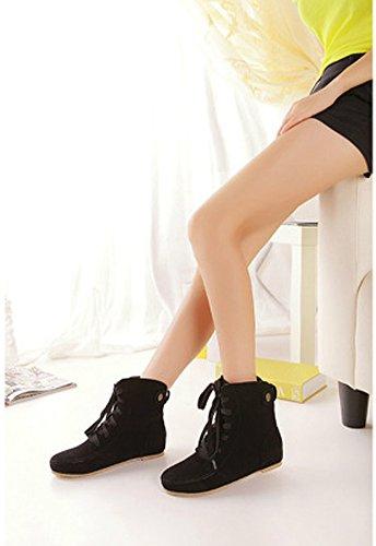 Minetom Inverno Moda Lace Up Boots Donne Scarpe Piatte Stivaletti Scarpe Fibbia Della Piattaforma Confortevole Martin Boots Nero Cotone