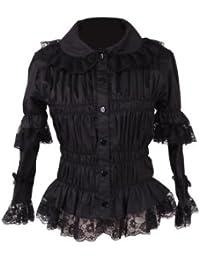 799e69c1cbfb04 an*tai*na Antaina Schwarz Baumwolle Spitze Rüsche Retro Gothic Sexy Lolita  Beiläufig Hemd