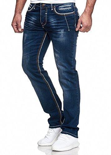 Herren Jeans Hose Washed Straight Cut Regular Stretch Blau W36 L32
