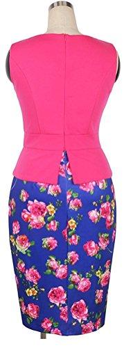 SunIfSnow - Robe spécial grossesse - Moulante - À Fleurs - Sans Manche - Femme Hot Pink Rose