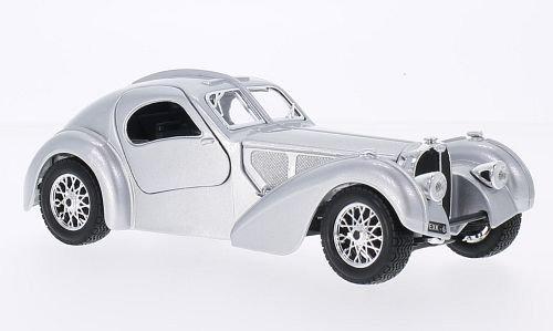 Bugatti Atlantique, argenté, RHD, 1936, voiture miniature, Miniature déjà montée, Bburago 1:24