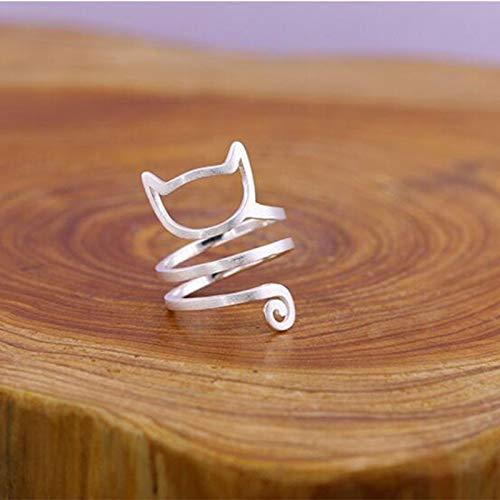 JZHHXXA Persönlichkeit Design Sterling Silber Wrap Around Cat Ringe für Frauen Mädchen Schmuck