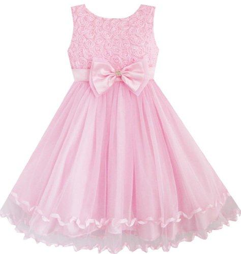 Girls Dress Pink Rose Bow Tie Belt Wedding Party