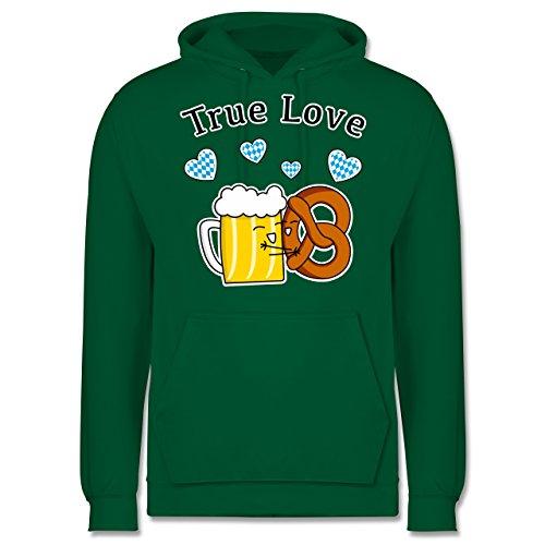Oktoberfest Herren - True Love- Bier und Breze - Männer Premium Kapuzenpullover / Hoodie Grün