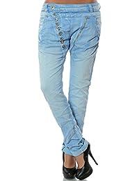 Damen Boyfriend Jeans Hose Reißverschluss Knopfleiste