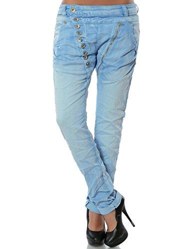 Damen Boyfriend Jeans Hose Reißverschluss Knopfleiste (weitere Farben) No 14145, Farbe:Pastellblau;Größe:40 / L