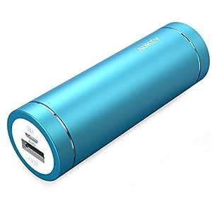 AUKEY Mini Batterie Portable 5000mAh, Entrée 2A et Sortie 2A, pour iPhone, Samsung, HUAWEI, HTC, Sony, etc., un Câble Micro USB 20cm (Bleu)
