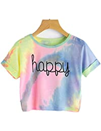 Amlaiworld Damen Sommer Strand Happy T-Shirt elegant Mädchen Niedlich pullis  Mode Farbverlauf bauchfrei Oberteile a95781fcfe