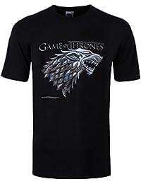 Game Of Thrones Loup Stark T-Shirt Noir Homme Sous Licence Officielle