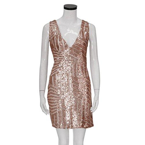 Sannysis Damen Reizvoller V-Ansatz Sequin Bodycon Verband Partei Verein Minikleid Rosa Gold