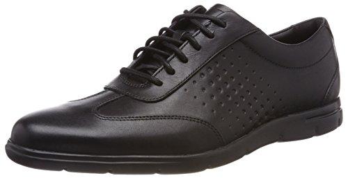 Geprägtes Leder-flip-flops (Clarks Herren Vennor Vibe Derbys, Schwarz (Black Leather), 43 EU)