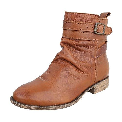 Komfort Stiefeletten Leder Damenschuhe Schlupfstiefel Blockabsatz Blockabsatz Reißverschluss Ital-Design Stiefeletten Camel