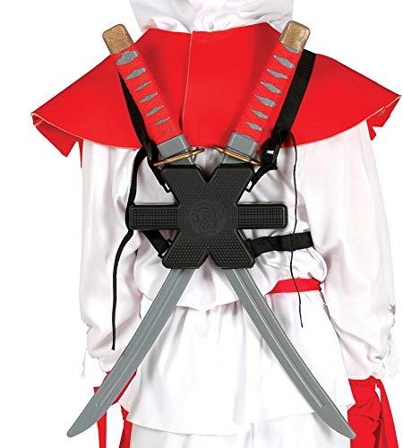 Guirca Samurai Schwerter Paar mit Halterung Rücken Karneval Fasching Party Ninja Kämpfer (Spielzeug Schwert Ninja)