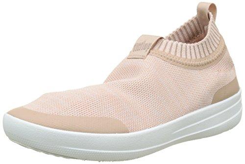 FITFLOP Damen Uberknit Slip-On Sneakers Hohe Sneaker, Multicolour (Neon Blush/Urban White), 41 EU - Urban Blush