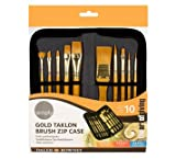 Simply Acrylic Gold Taklon Brush Zip Case (10pc) (The Art Of Giving)