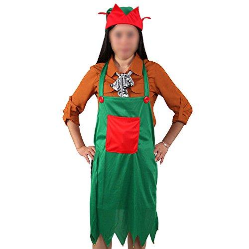 Eizur Weihnachten Elf Schürze Mütze Set mit Taschen Weihnachtsschürze und Weihnachts Hut Weihnachten Kostüm Weihnachts Zubehör (Katze In Den Hut-kostümen Für Erwachsene)