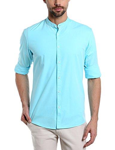 7. Dennis Lingo Men's Solid Chinese Collar Tblue Casual Shirt(CC201_TBLUE_L)