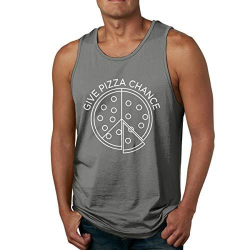 Abigails Home Geben Sie Pizza Chance Mens Tank Top ärmellose Shirts Tee Basketball Sport T-Shirt Tees Outdoor Fitness(L,Deep Heather) -