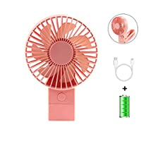 KOUQI Mini Portable Handheld Fan, USB Desktop Clip Fan, with Rechargeable 4000 mAh Battery Mobile Foldable Handle, Travel/Home/Personal Fan Cooling,Pink