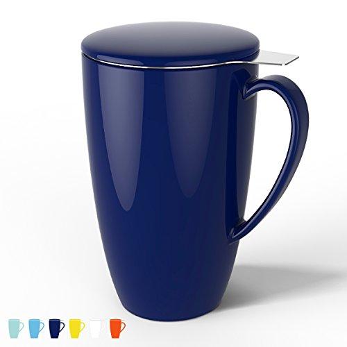 Sweese Porzellan Tasse, Teesieb Becher, Teekanne mit Sieb und Deckel, Dunkelblau, 400ML