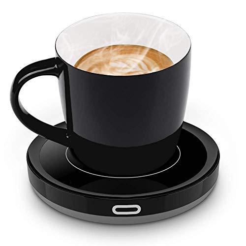 E-yiiviil Smart Tassenwärmer Getränkewärmer Set mit Elektrischer Heizplatte Automatischer Schwerkraft-Sensor-Schalter für Tee Kaffee Milch Kaffeewärmer mit Eurostecker für Büro, Zuhause (Bis zu 131F)