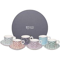 Tokyo Design Studio Geometric Eclectic Espressotassen und Untertassen. 12-teiliges Set für 6 Personen. Aus hochwertigem Porzellan. In schöner Geschenkbox. Spülmaschinenfest. Mikrowellengeeignet.