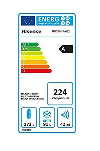Hisense RB338N4AG2 Kühl-Gefrier-Kombination/A++/No-Frost/Türanschlag rechts, wechselbar/edelstahl-Look