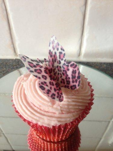 15 vorgeschnitten große rosa Leopard print Schmetterlinge