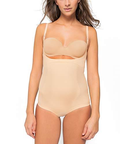 Kasheer ShapeBody | Shapewear Damen Figurformender Bauchweg Body | Unterwäsche Bodysuit | Tiefer Ausschnitt für eigenen BH (42/44, Haut)