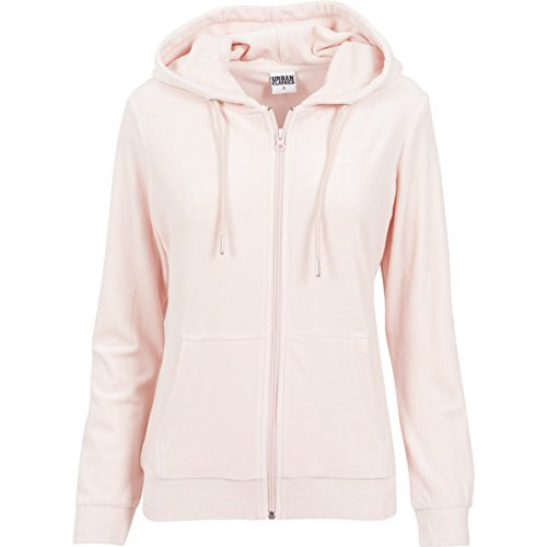 Ladies Velvet Zip Hoody pink M
