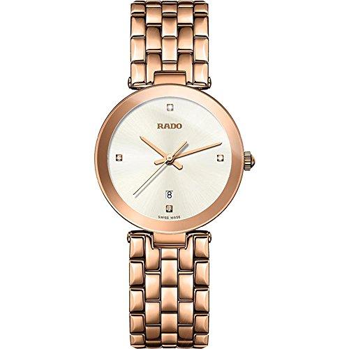 Rado Florence Damen-Armbanduhr Diamant 28mm Batterie Analog R48873734 (Batterie Rado-uhr)