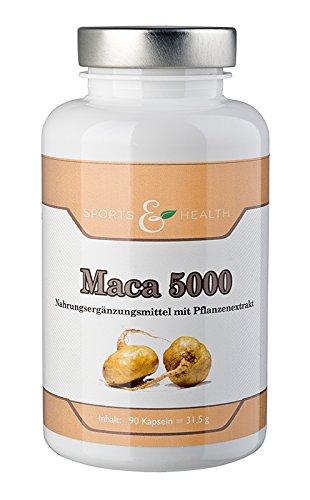 Maca 5000 Kapseln - HOCHDOSIERT - KAPSELN mit 5000 mg- 3 Monatsvorrat - 90 Kapseln - Vegan - Ohne Magnesiumstearat - Made in Germany