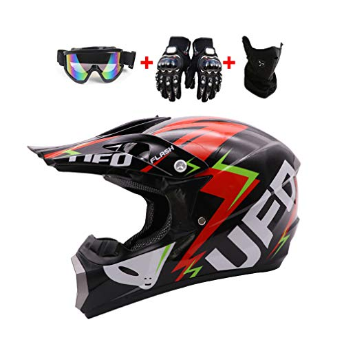 LEENY Casco da Motocross, Casco da Cross Moto con Occhiali Maschera Guanti, Stile UFO Nero Caschi Moto off-Road Sport Downhill Dirt Bike Enduro Racing Casco ATV MTB Quad Casco da Motociclista,M