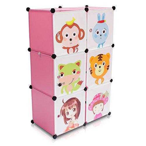 VENKON - Kinderzimmer Steckschrank DYI Steckregal System Regalschrank: 6-Module-Set, rosa