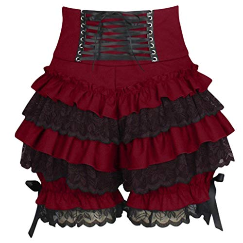 yingshu Damen Spitze Kurze Hose Retro Lace-up Shorts Bow Rüschen Kürbis Hose Spitze Layered Frill Sommer Shorts Palast Lolita Pettipants