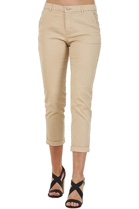 Pantalones Pirata de Verano para Mujer - Corte Entallado - Tejido elástico de algodón - Azul - 38: Amazon.es: Ropa y accesorios
