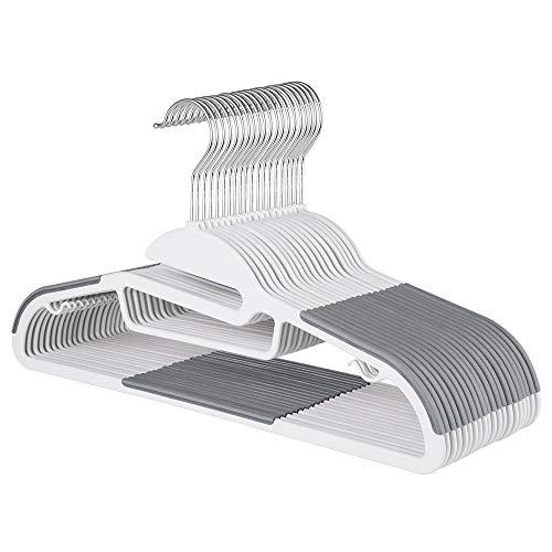 Sable Kleiderbügel 20Stk Anzugbügel ABS Plastik Bügel Antirutsch Multifunktionsbügel für Kleider/Jacken/Hosen/Krawatte 360° Chrom Drehhaken Grau & weiß