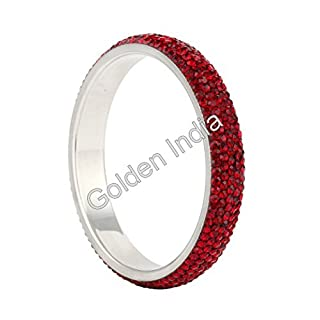 Brass Bracelet Bangle 5-Rows Crystals Slip On by Avx Fashion Many Colors (Red Wine (L)